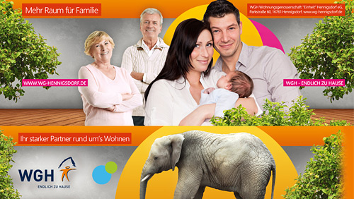 Grafikdesign, Buswerbung, Familie, Elefant